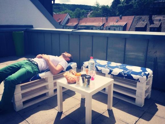 Mittagspause an der Sonne